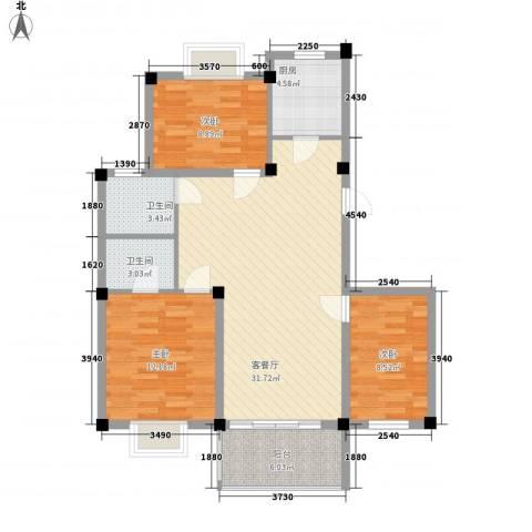 如意金水湾3室1厅2卫1厨112.00㎡户型图
