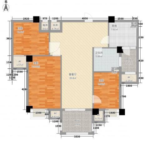 安阳碧桂园3室1厅1卫1厨104.30㎡户型图