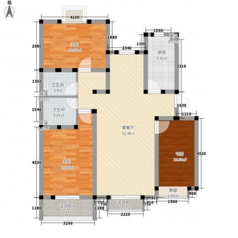 金桥太阳岛3室1厅2卫1厨120.00㎡户型图