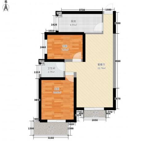 金桥太阳岛2室1厅1卫1厨80.00㎡户型图