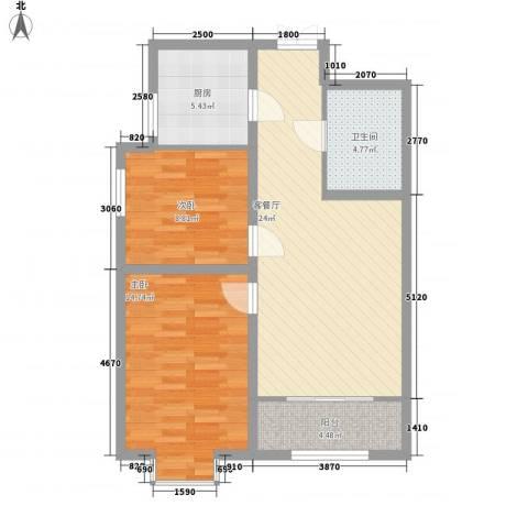 百合世纪城2室1厅1卫1厨88.00㎡户型图