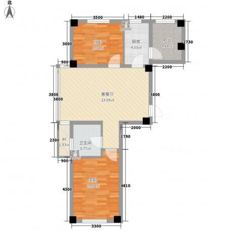 东方俪城2室1厅1卫1厨80.00㎡户型图