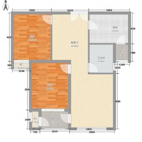 海红小区2室1厅1卫1厨102.00㎡户型图