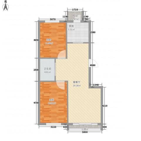 丰和日丽2室1厅1卫1厨103.00㎡户型图