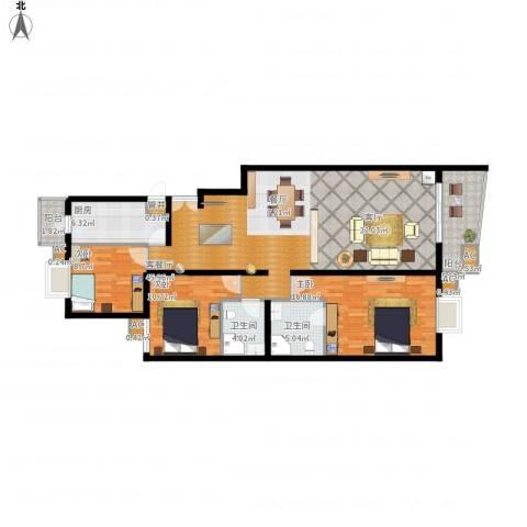 清枫华景园3室1厅2卫1厨152.00㎡户型图