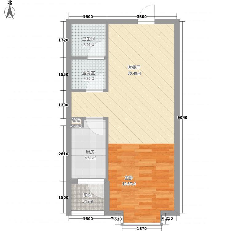 碧桂园温泉56.00㎡小区二期1C+户型1室1厅1卫1厨