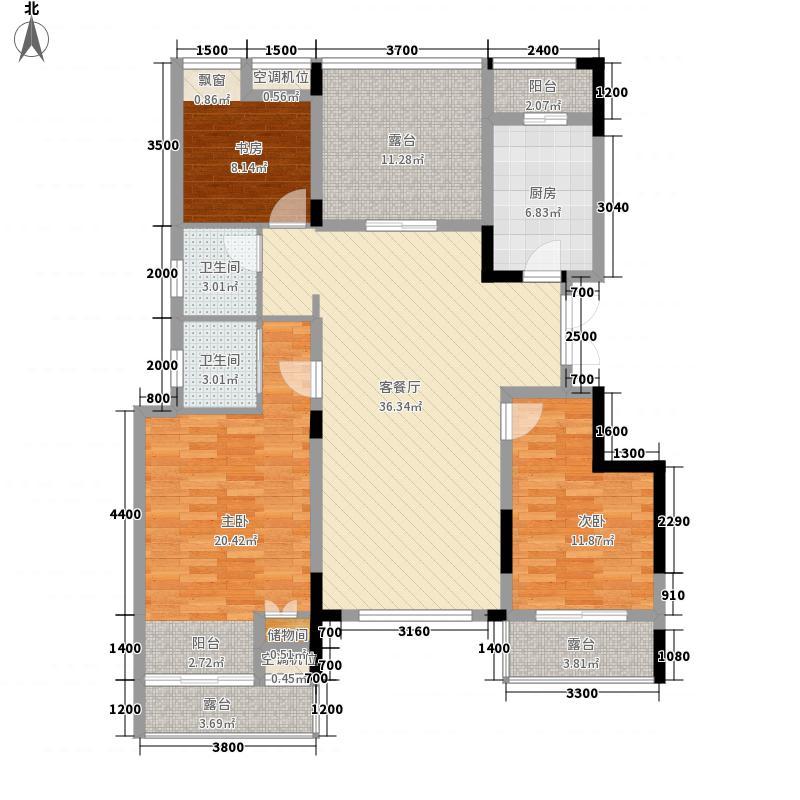 紫玉山庄117.68㎡二期2号楼3层302室户型3室2厅2卫1厨