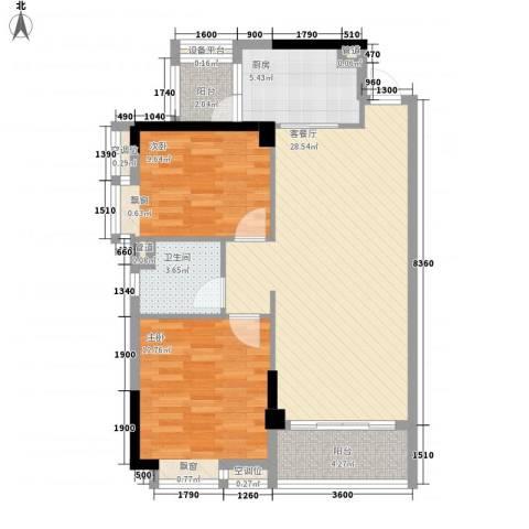 奥园金域2室1厅1卫1厨89.00㎡户型图
