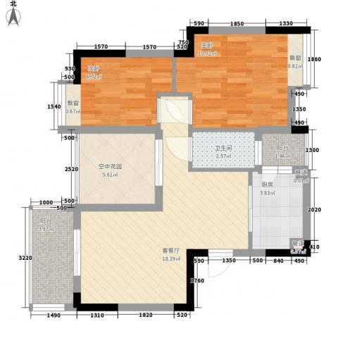 城市风景二期2室1厅1卫1厨53.05㎡户型图