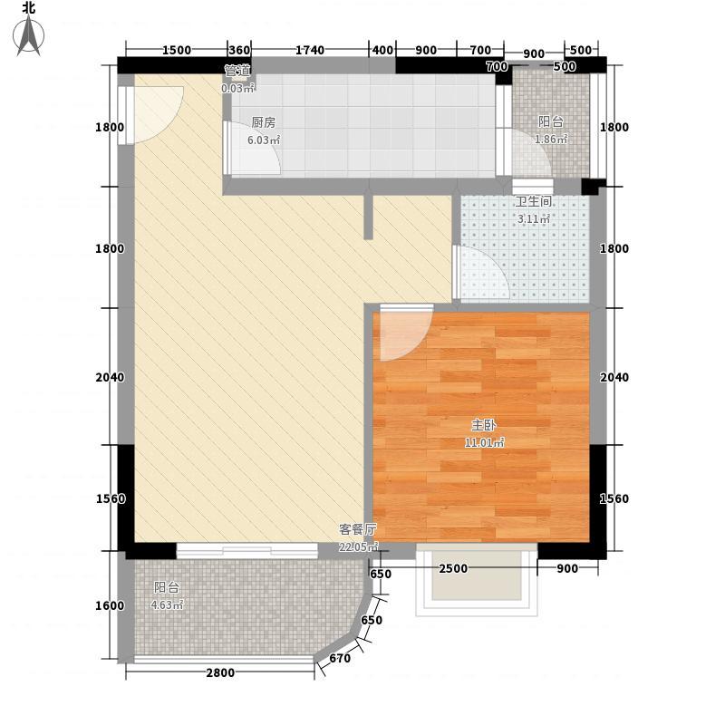 互盛佳苑66.22㎡B4型户型1室2厅1卫1厨