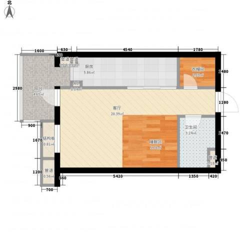 金隅时代城1厅1卫1厨55.00㎡户型图