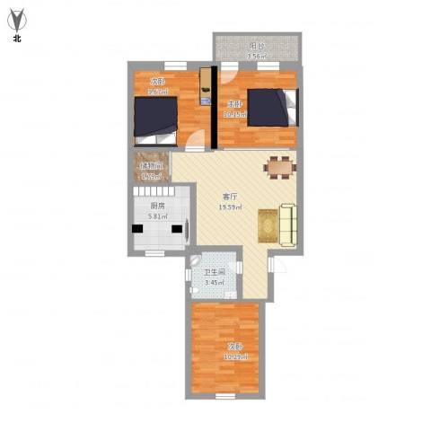 燕东山庄3室1厅1卫1厨94.00㎡户型图