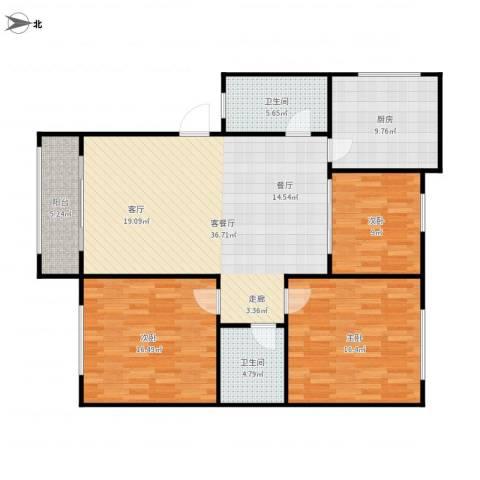 三里新城兰苑3室1厅2卫1厨139.00㎡户型图