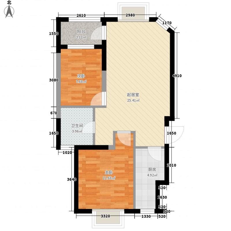 优点社区76.60㎡2号楼B1-2户型2室1厅1卫1厨