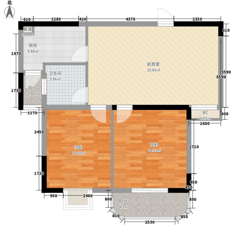 四季华庭89.00㎡e户型3室2厅1卫89㎡户型3室2厅1卫1厨
