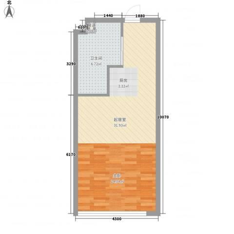 晋合公寓1卫0厨56.00㎡户型图