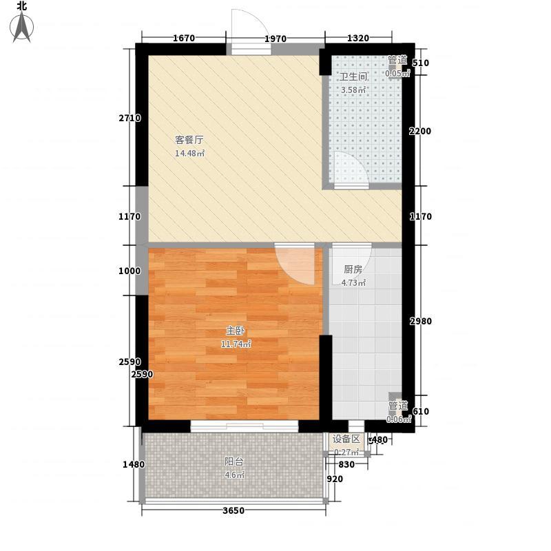 翡翠明珠57.32㎡二期6#、7#F户型1室1厅1卫1厨