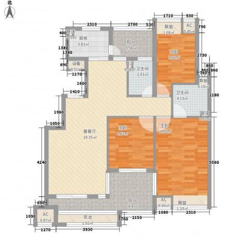 龙湾新城3室1厅2卫1厨128.00㎡户型图