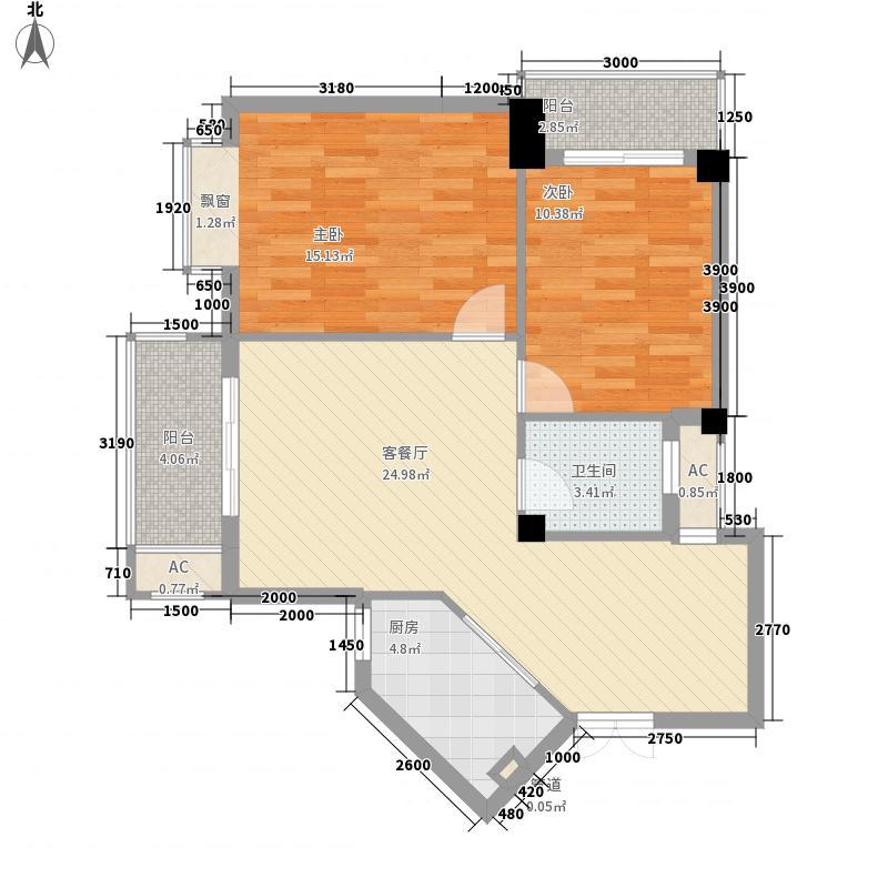 锦江名城峰景86.35㎡12#楼B1户型2室2厅1卫1厨