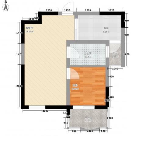 大华水韵华庭1室1厅1卫1厨56.00㎡户型图