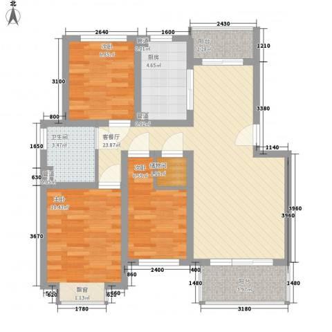 共富新家园3室1厅1卫1厨93.00㎡户型图