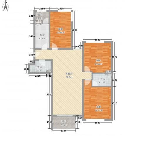亮马新世家3室1厅2卫1厨147.00㎡户型图