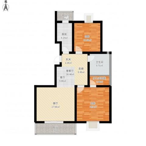 富水一方2室1厅1卫1厨110.00㎡户型图