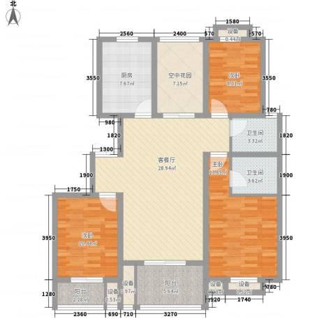 上海花园3室1厅2卫1厨138.00㎡户型图
