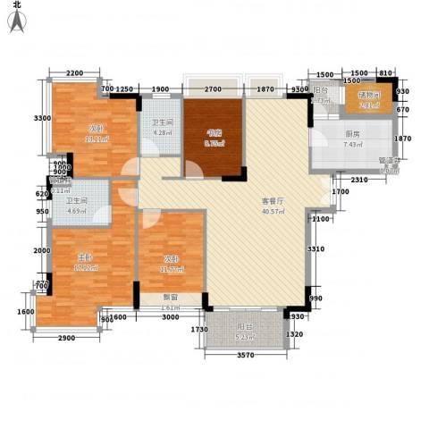 金地格林小城4室1厅2卫1厨146.00㎡户型图