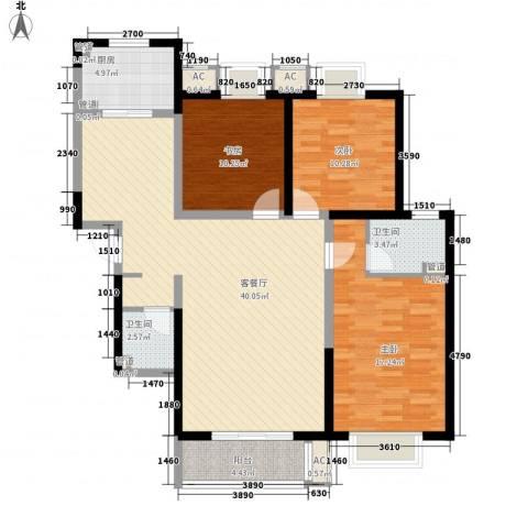 绿地世纪城3室1厅2卫1厨135.00㎡户型图