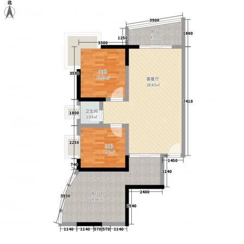 亚泰鼎盛国际2室1厅1卫0厨120.00㎡户型图