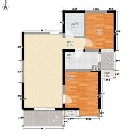 翡翠明珠2室1厅1卫1厨64.64㎡户型图