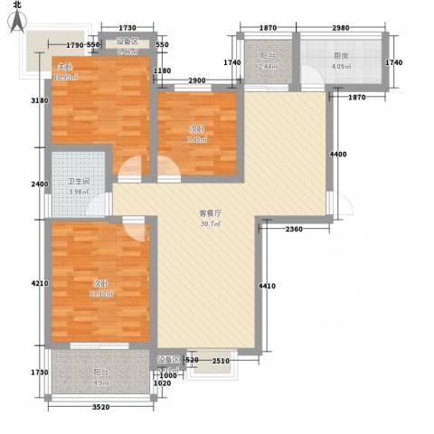 久地雅苑3室1厅1卫1厨118.00㎡户型图