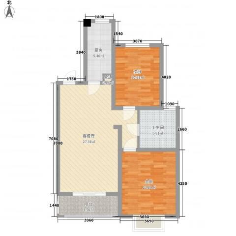 枫林湾2室1厅1卫1厨98.00㎡户型图