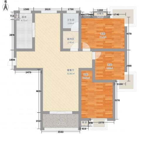 久地雅苑3室1厅1卫1厨113.00㎡户型图