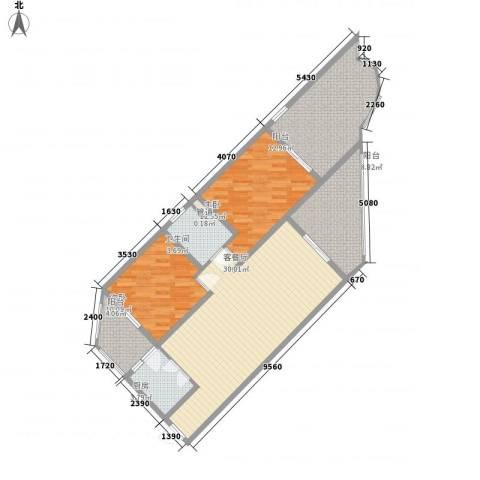 中州国际酒店2室1厅1卫1厨96.50㎡户型图