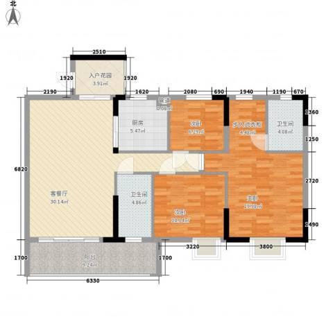 城央御景尚品3室1厅2卫1厨133.00㎡户型图