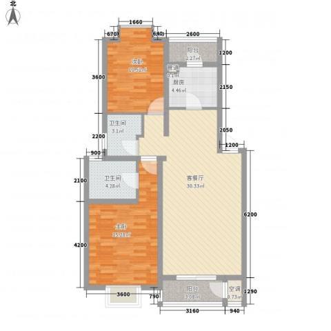 中铁四局四公司生活小区2室1厅2卫1厨75.00㎡户型图