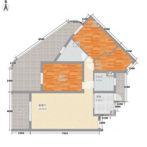 中州国际酒店3室1厅2卫1厨115.00㎡户型图