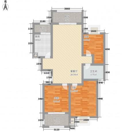 南郡明珠3室1厅1卫1厨109.00㎡户型图