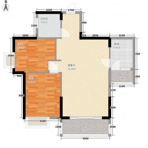 广汇东湖城2室1厅1卫1厨88.00㎡户型图