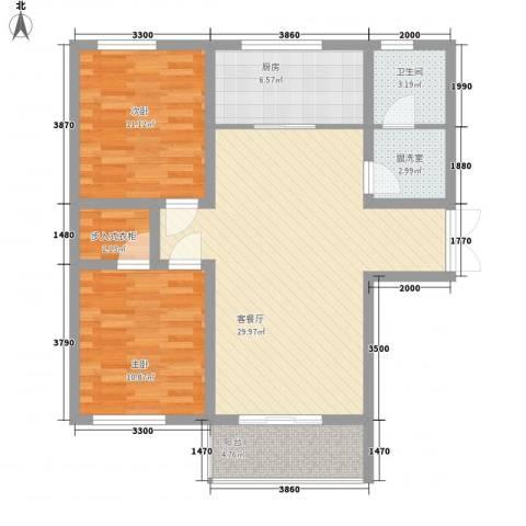 弘达明尚2室1厅1卫1厨90.00㎡户型图