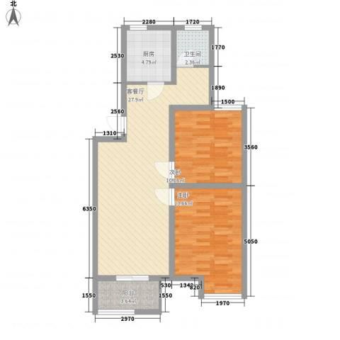 南艳滨湖时光2室1厅1卫1厨84.00㎡户型图