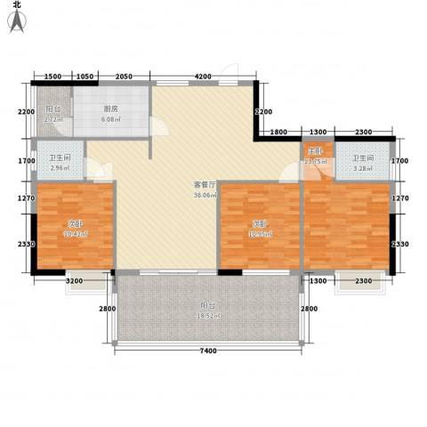 广汇东湖城3室1厅2卫1厨125.00㎡户型图