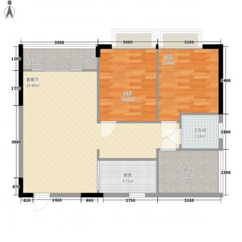 广汇东湖城2室1厅1卫1厨87.00㎡户型图