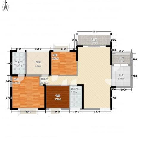 广汇东湖城3室1厅2卫1厨117.00㎡户型图