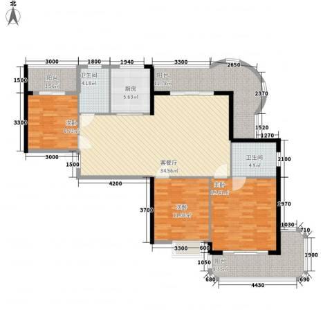 广汇东湖城3室1厅2卫1厨112.00㎡户型图