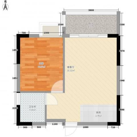 广汇东湖城1室1厅1卫0厨47.00㎡户型图