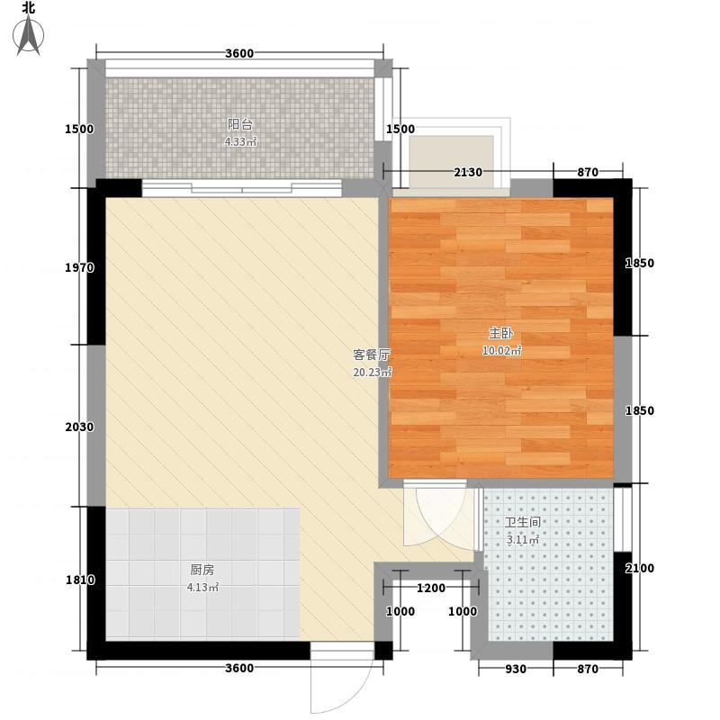 广汇东湖城47.20㎡10号楼A-2户型1室1厅1卫1厨