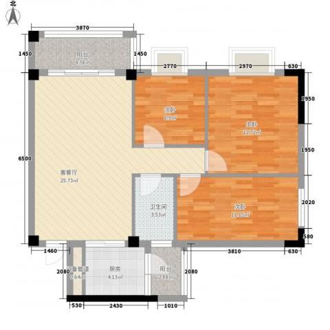 西堤国际花园3室1厅1卫1厨89.00㎡户型图